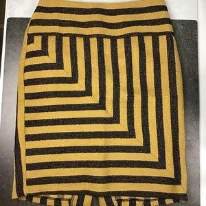 Eva Franco Pencil Skirt 12 Woven Gold Black Stripe